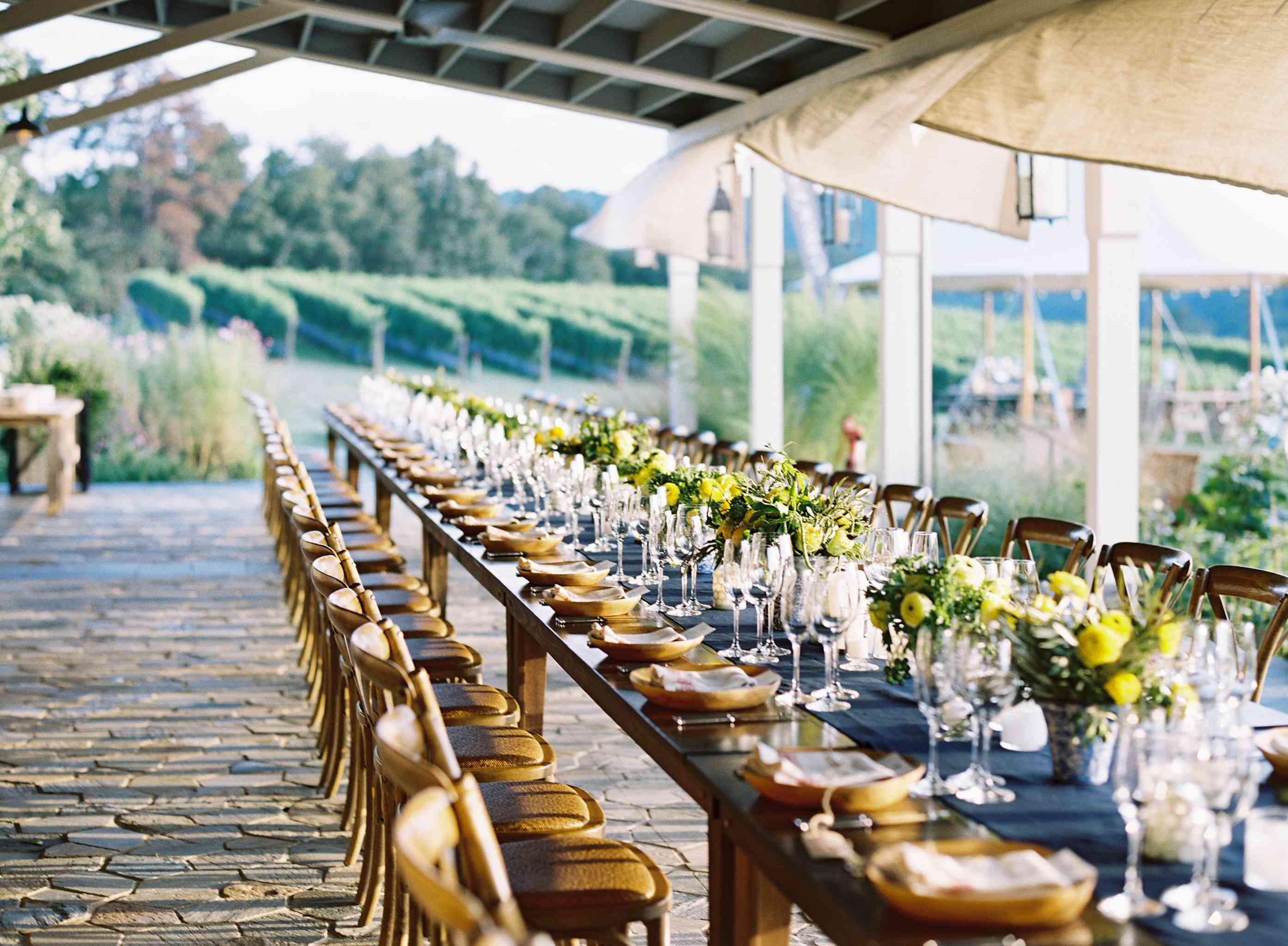 Table set up at an outdoor reception