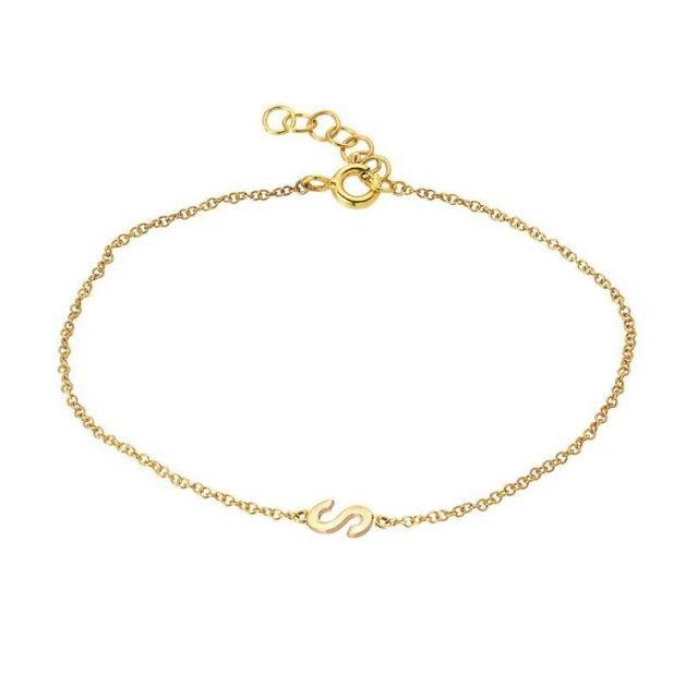 RheaNoa Jewelry 14K Gold Letter Bracelet