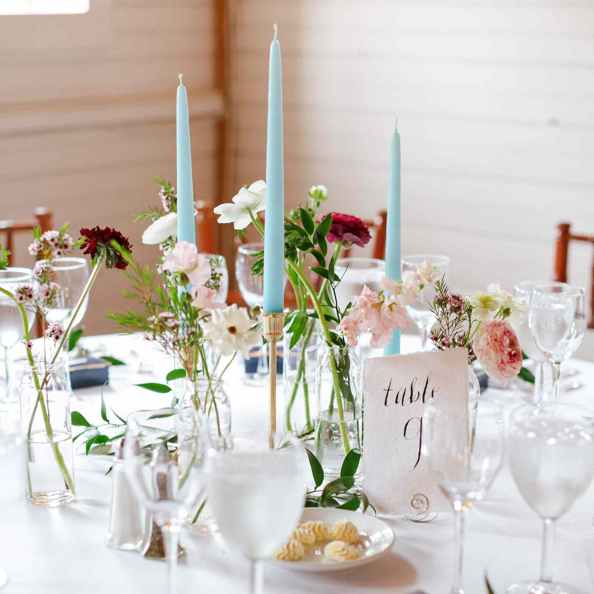 Tablescape with blue taper candles