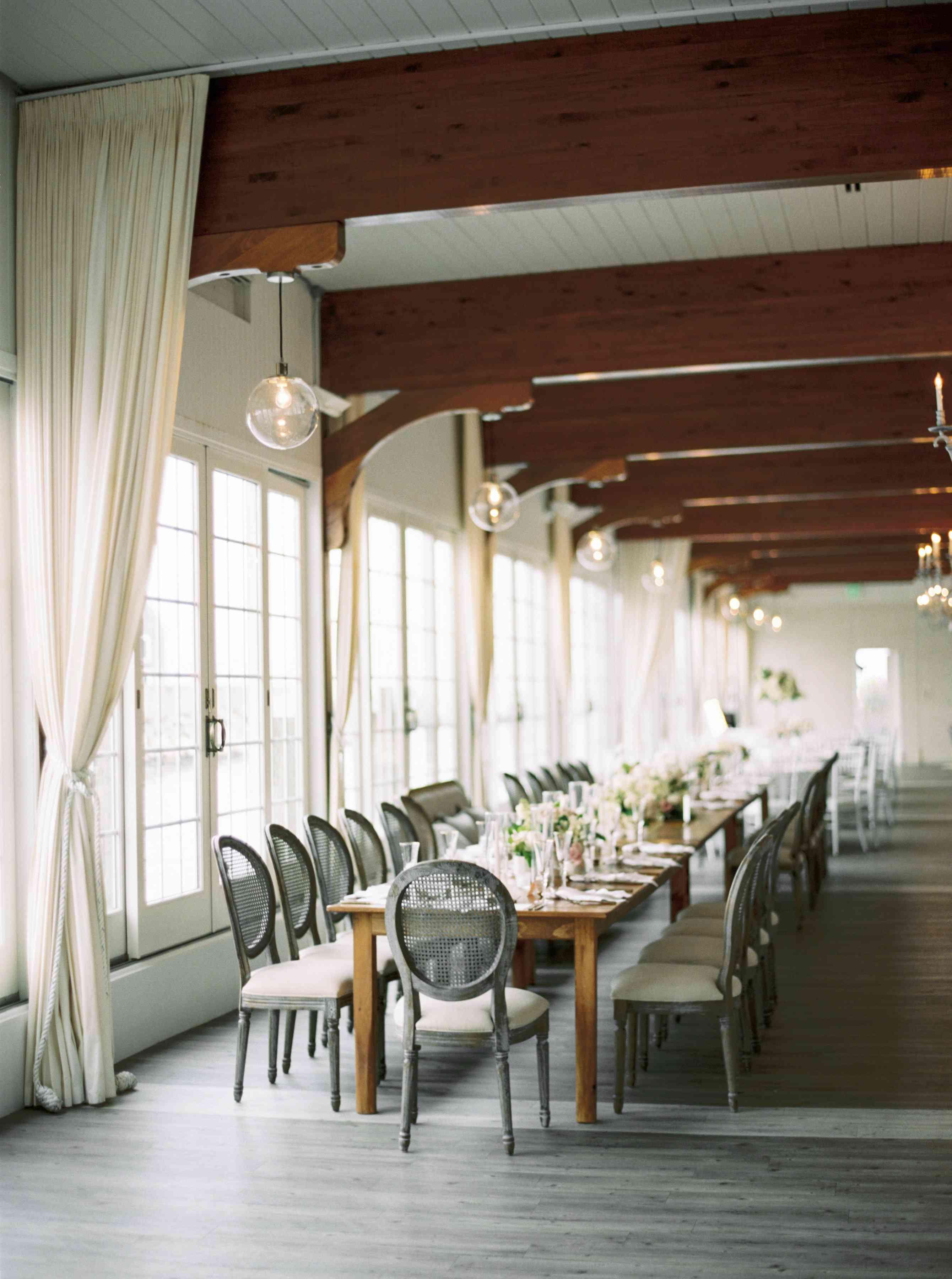long reception tables grey decor