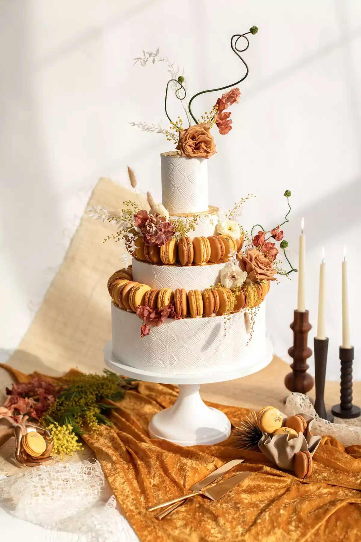 Fall macaron wedding cake