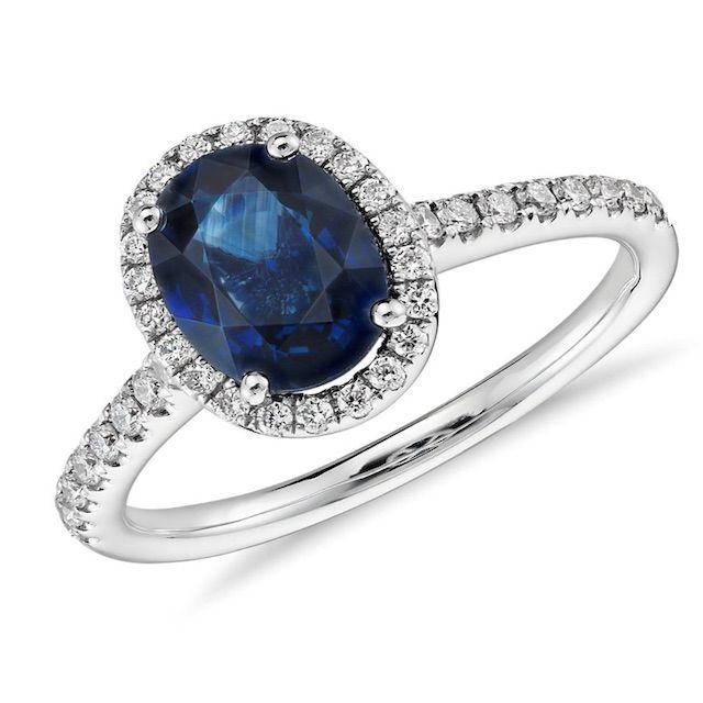 Blue Nile Sapphire and Micropavé Diamond Halo Ring