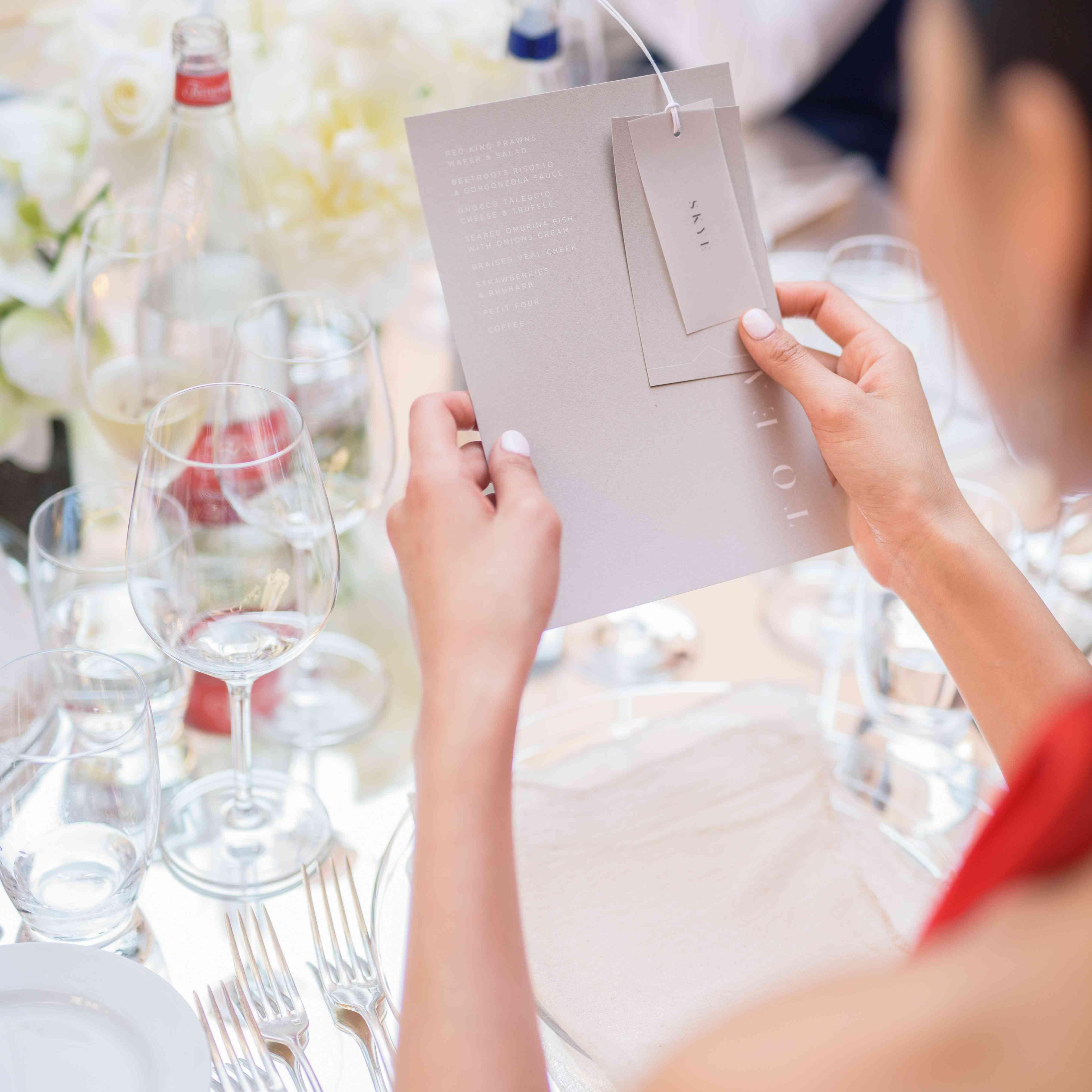 modern venice wedding, rehearsal dinner menu