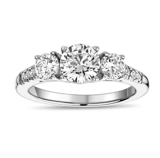 The Steel Shop Round Trinity Engagement Ring