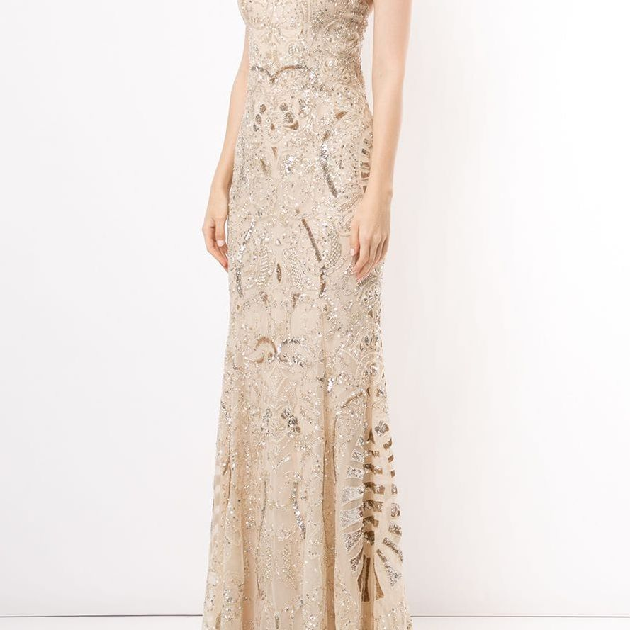 strapless beaded fishtail gown