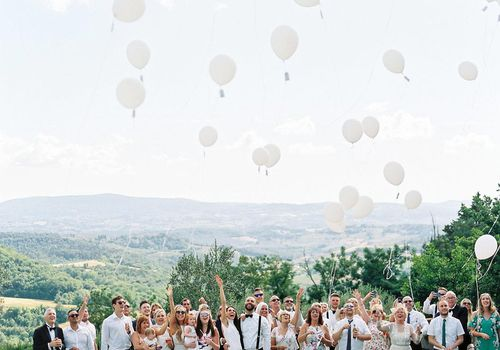 Wedding party with balloons