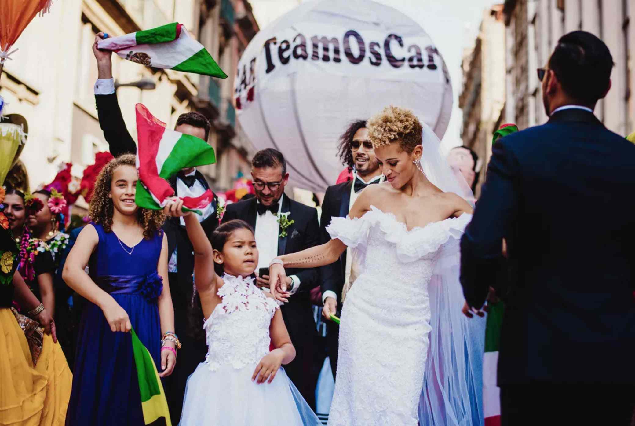Carly Cushnie dancing in wedding parade