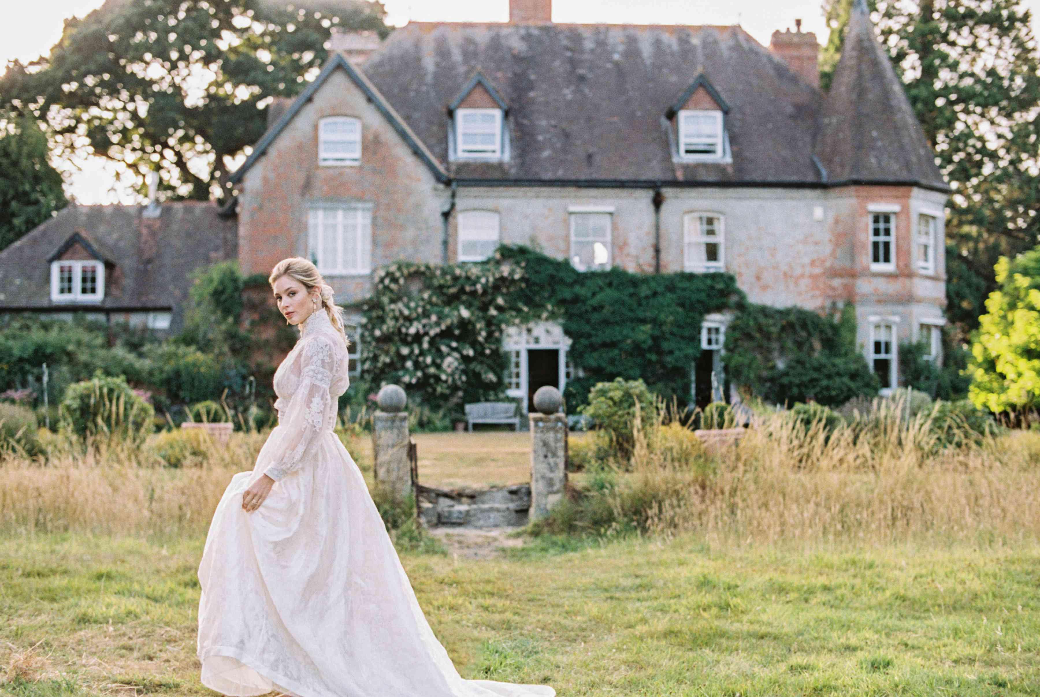 bride with flowy dress
