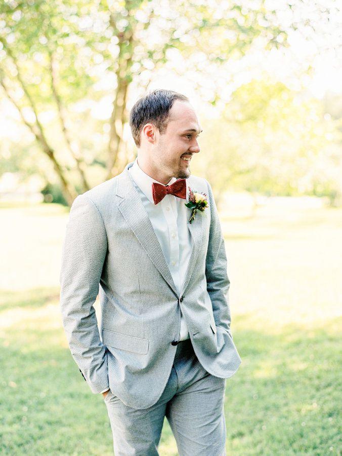 Groom in a seersucker suit