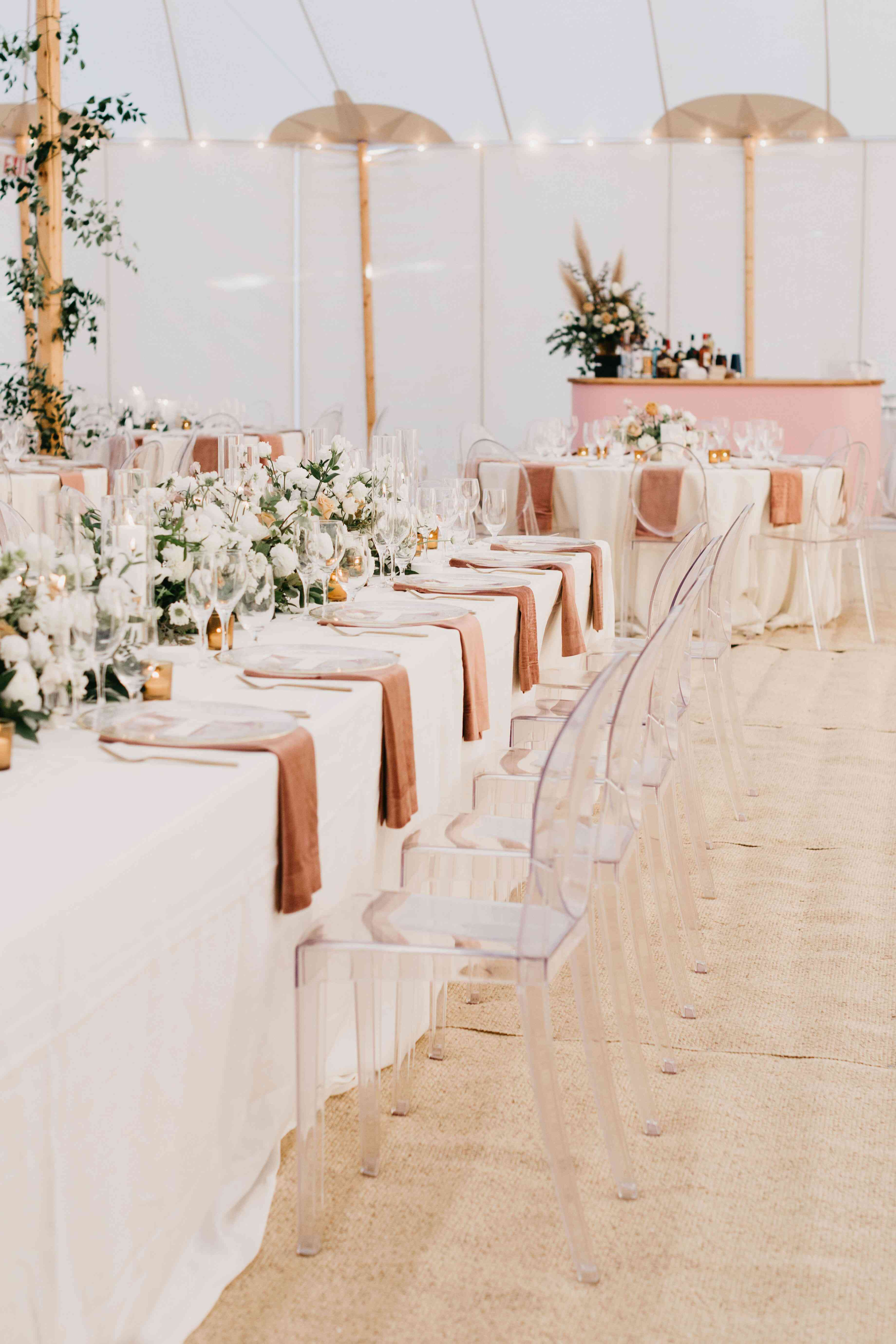 table and lucite chairs