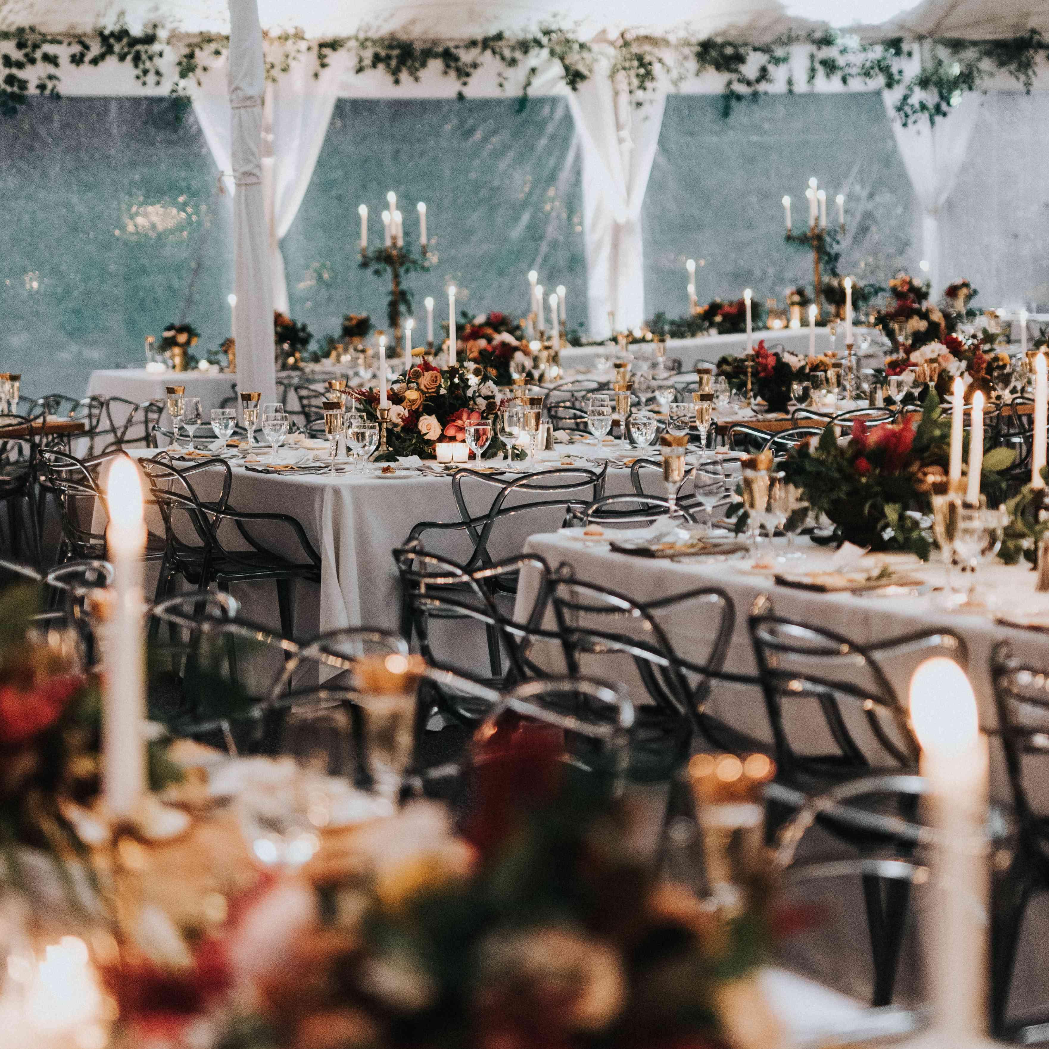 personalized michigan wedding, fall reception tablescape