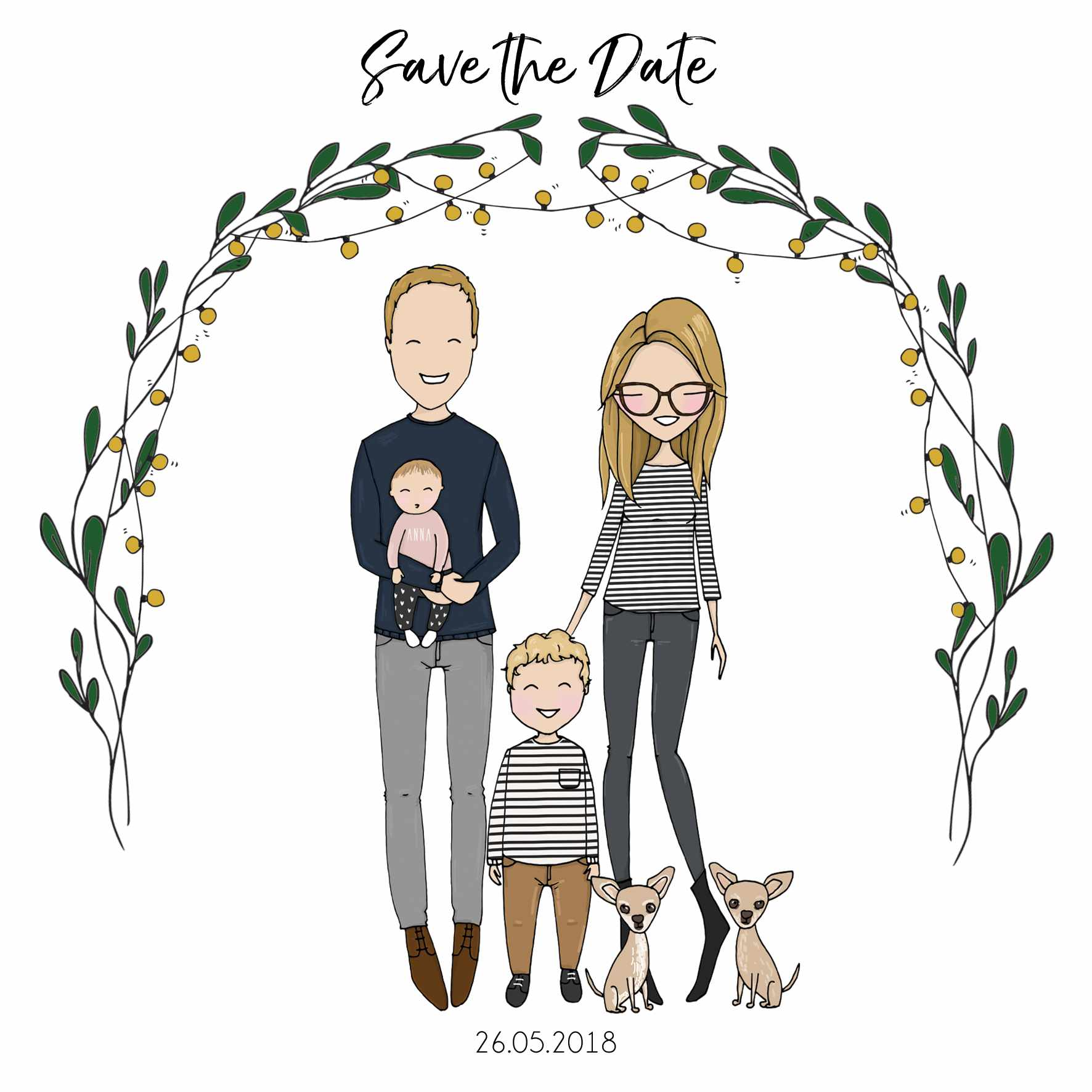 Save the date invite with cartoon drawings of the family including two children and two dogs
