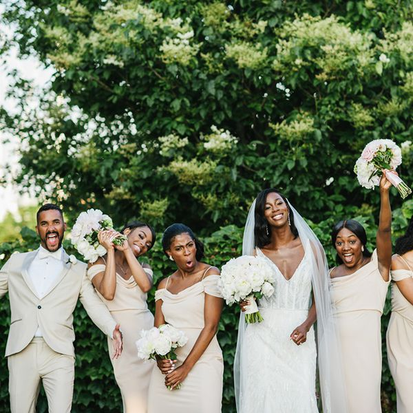 Bridal party in nude/beige
