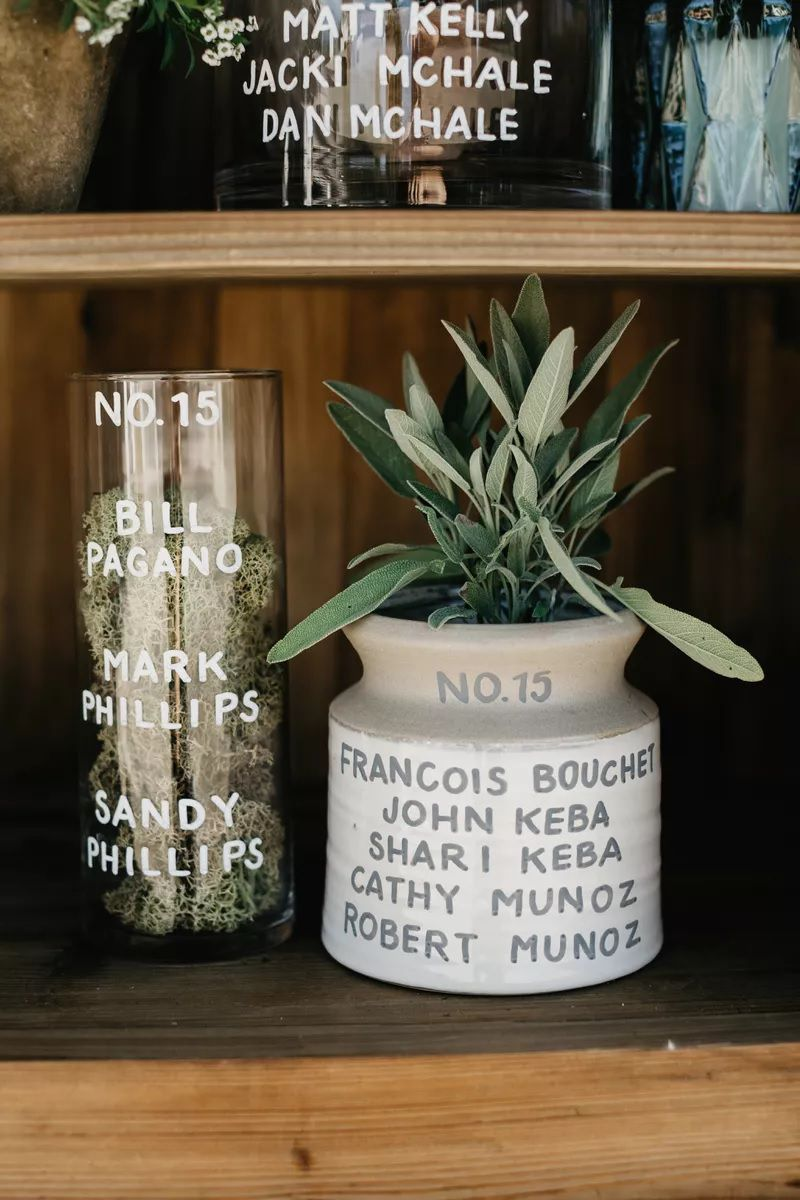 Vases used as table numbers