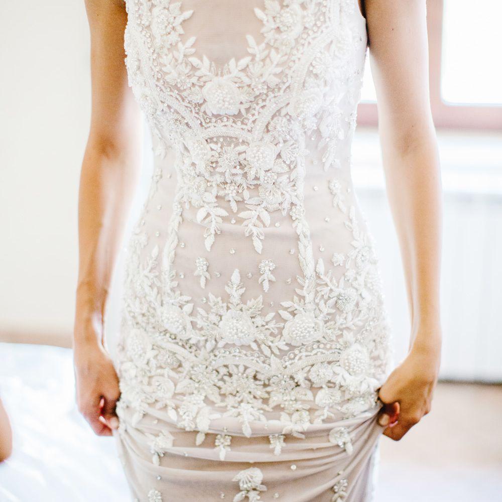 Bride close up dress