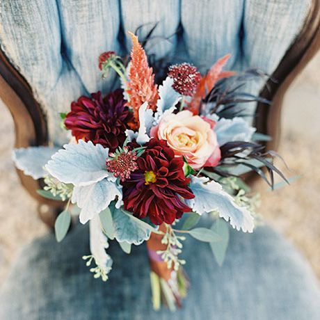 Gorgeous bouquet of dahlias, astilbe, roses, and dusty miller
