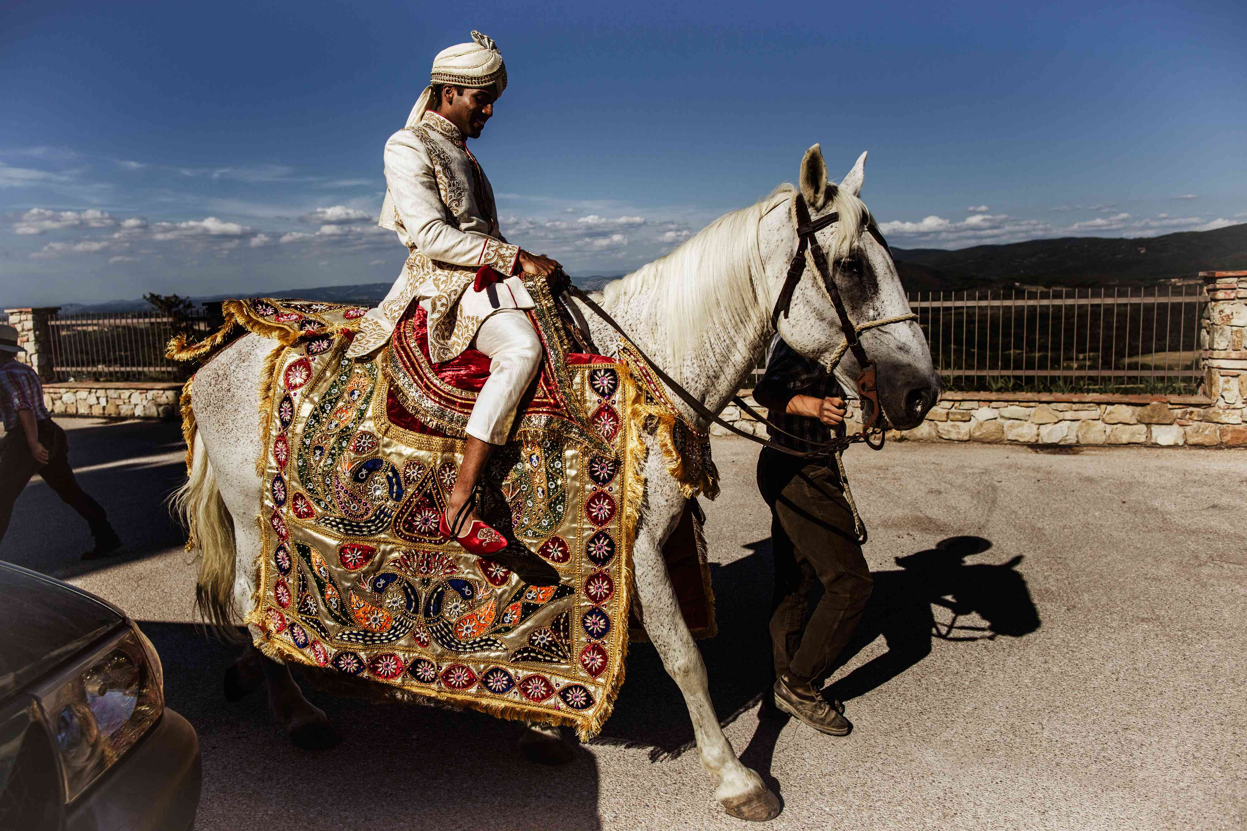 Indian groom on horse