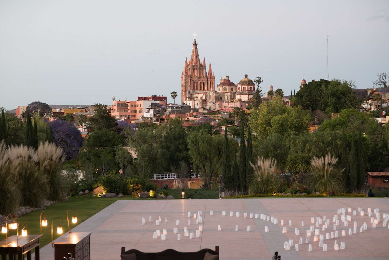 Candles in white bags as decoration in San Miguel, Mexico