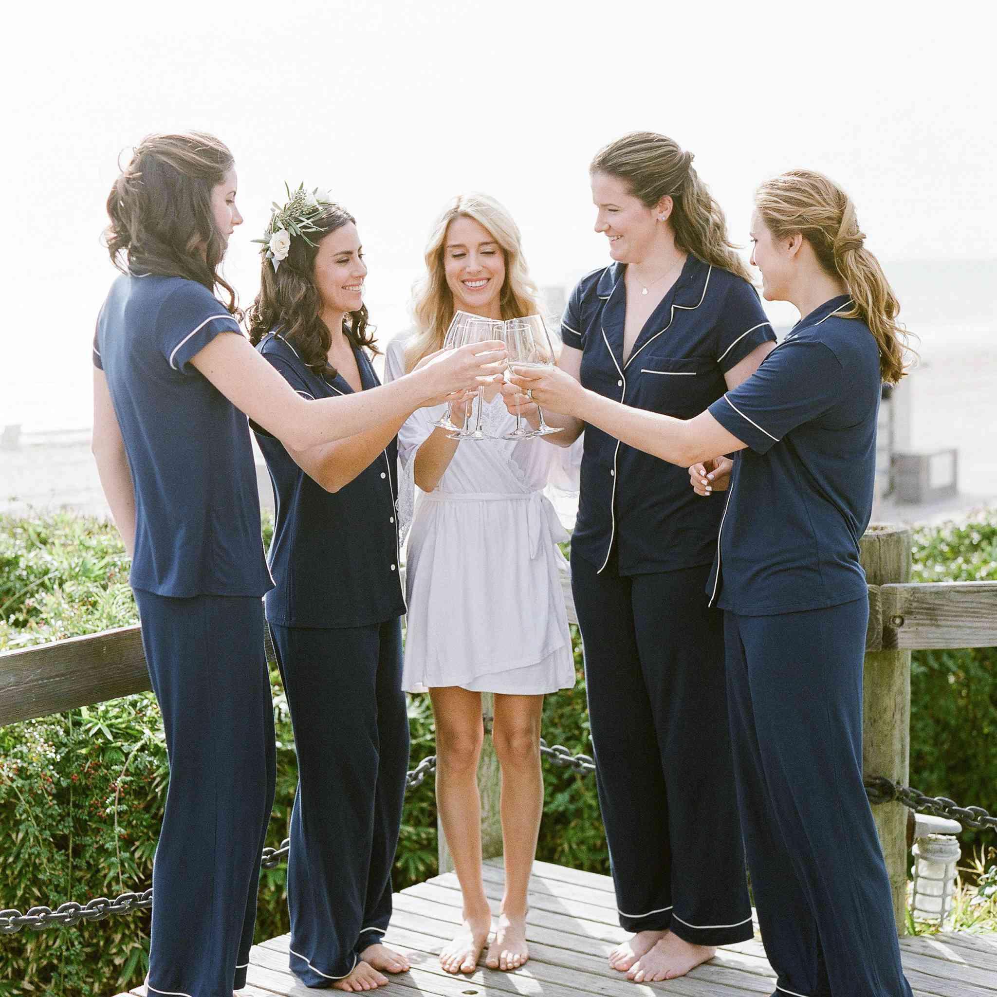 <p>bridesmaids pajamas toast getting ready</p><br><br>