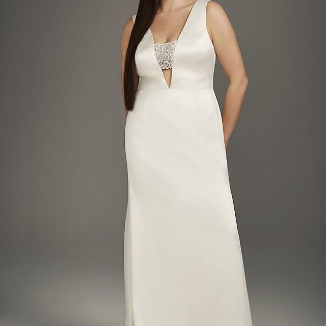 White by Vera Wang Crepe-Back Satin Encrusted Bandeau Plus Size Gown
