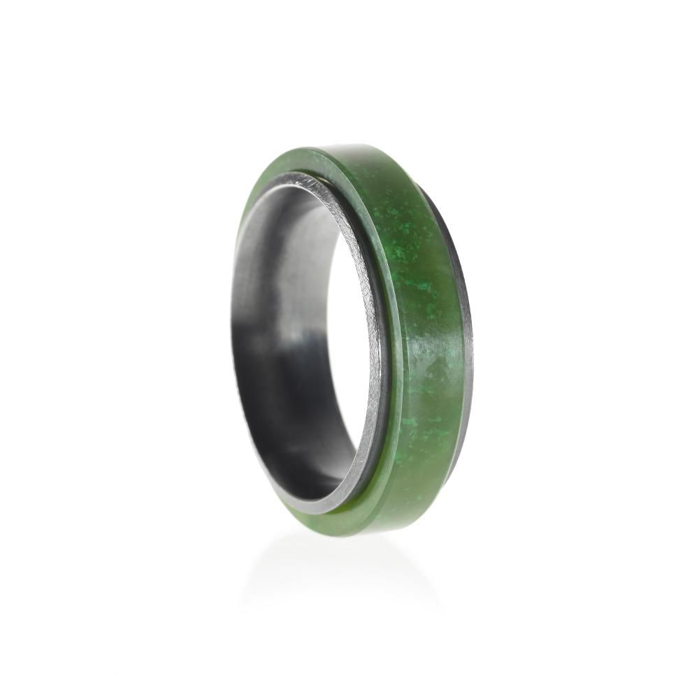 Todd Reed Green Jade and Sterling Silver Ring