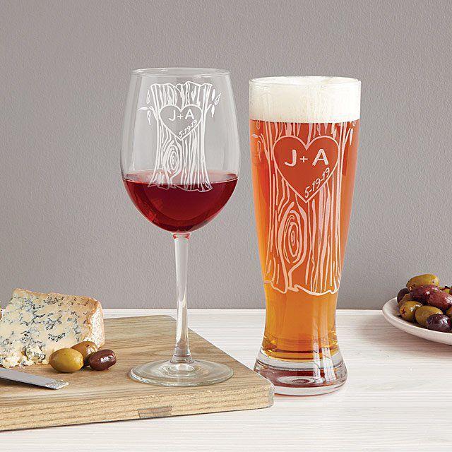 Uncommon Goods Personalized Tree Trunk Glassware Duo
