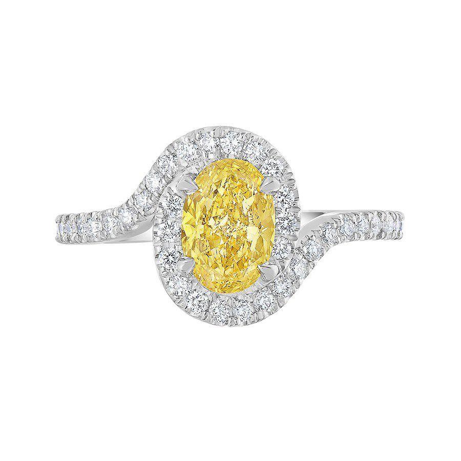 Pave oval yellow diamond