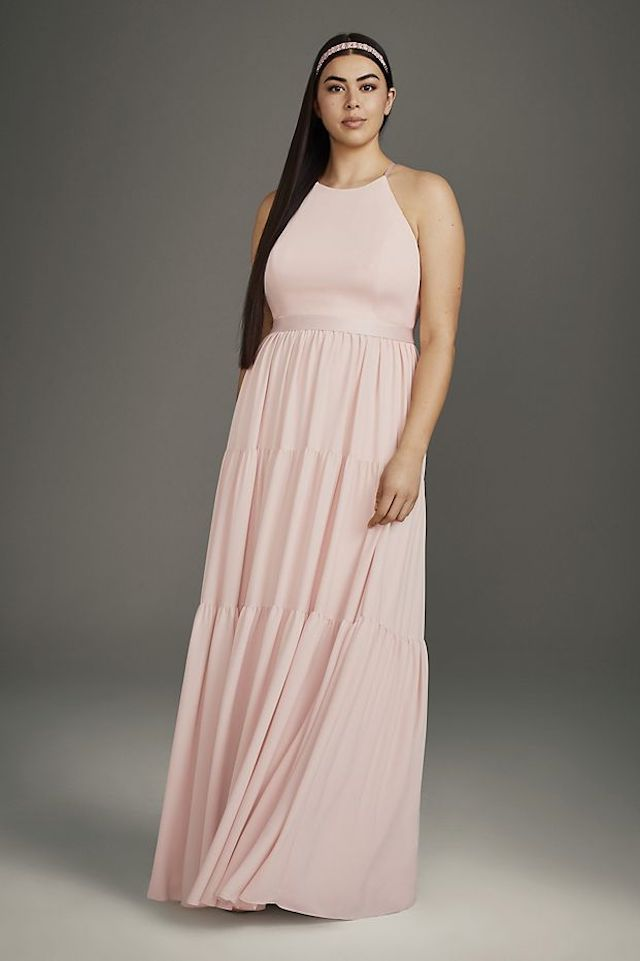 White by Vera Wang Georgette Bridesmaid Dress with Peasant Skirt, $159.95, on sale $69.99