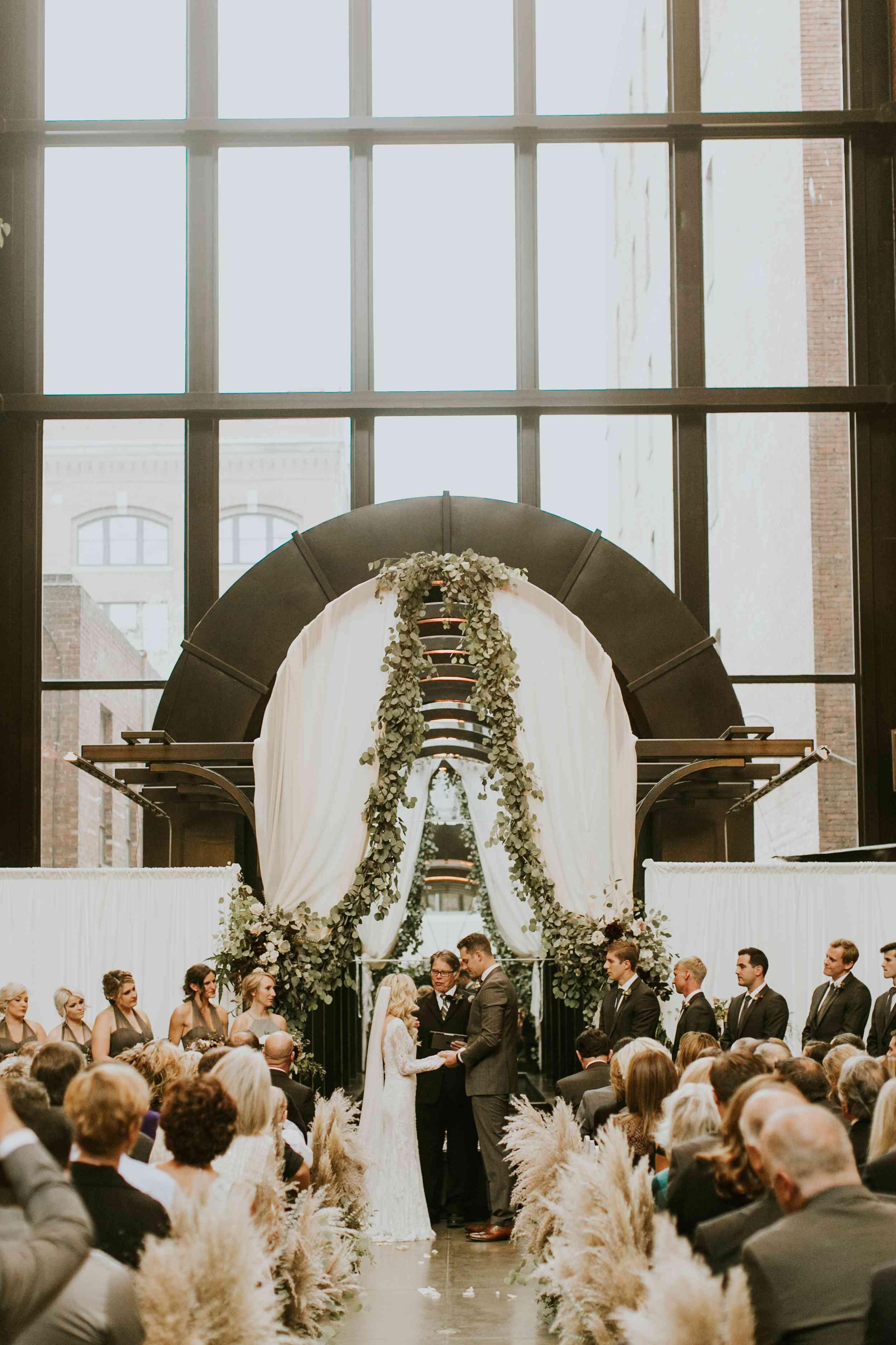 Modern archway wedding ceremony