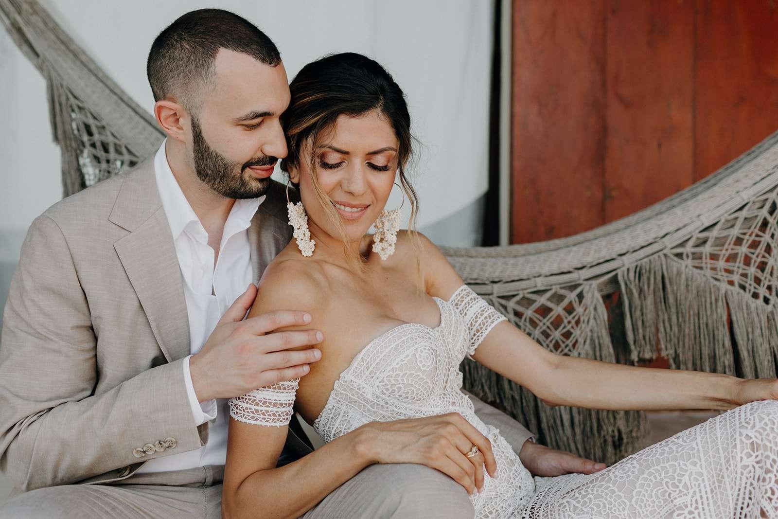 Newlyweds in a hammock
