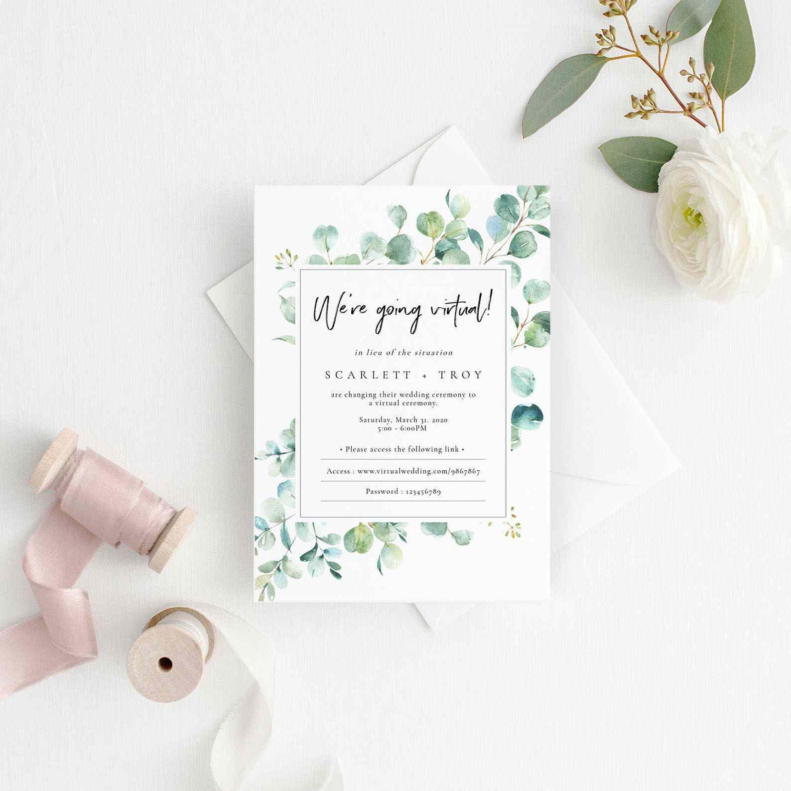 Wedding invitation Template Wedding Change The Date Greenery Wedding Invitation Boho Wedding