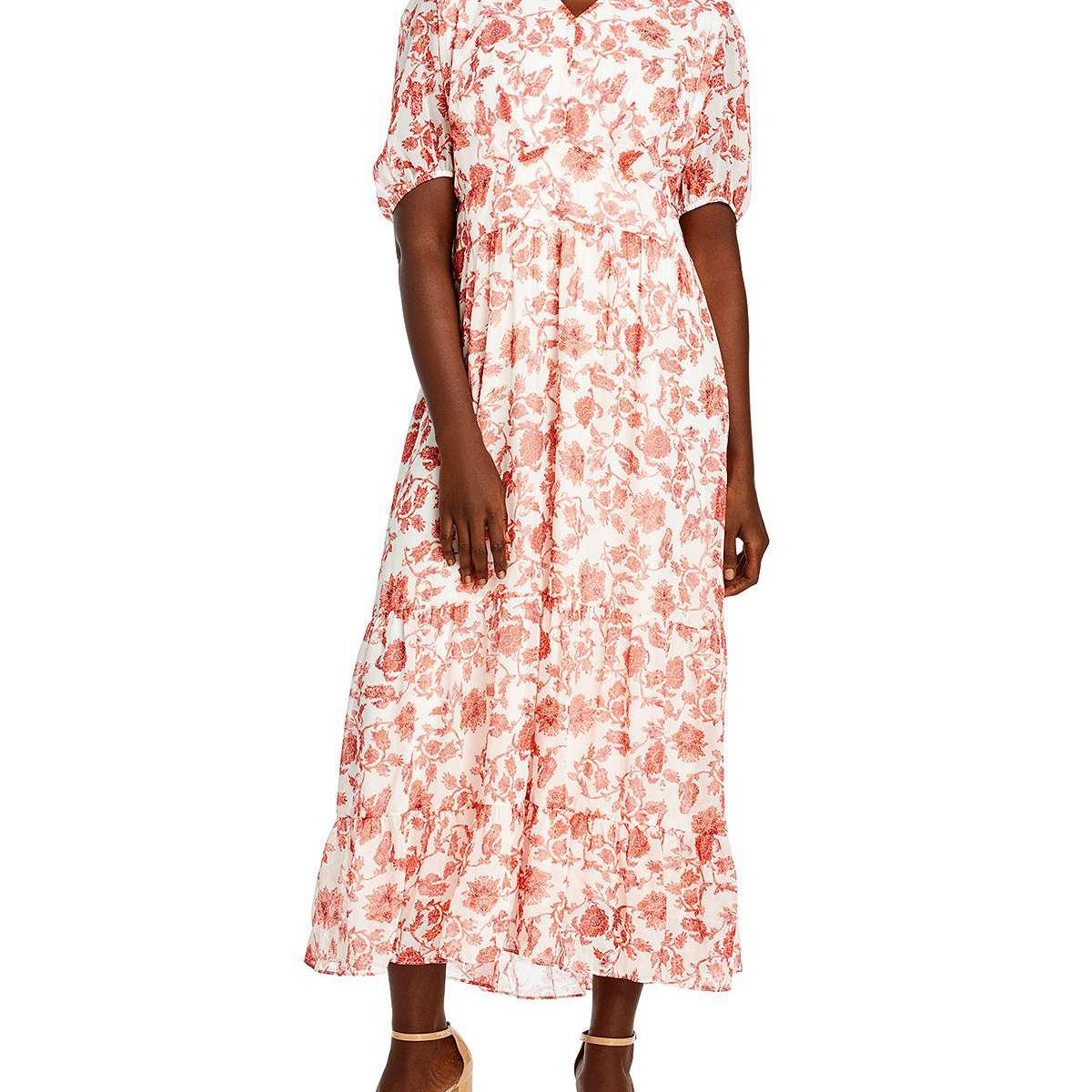 AQUA Curve Floral Print Tiered Dress, $88, on sale $61.60