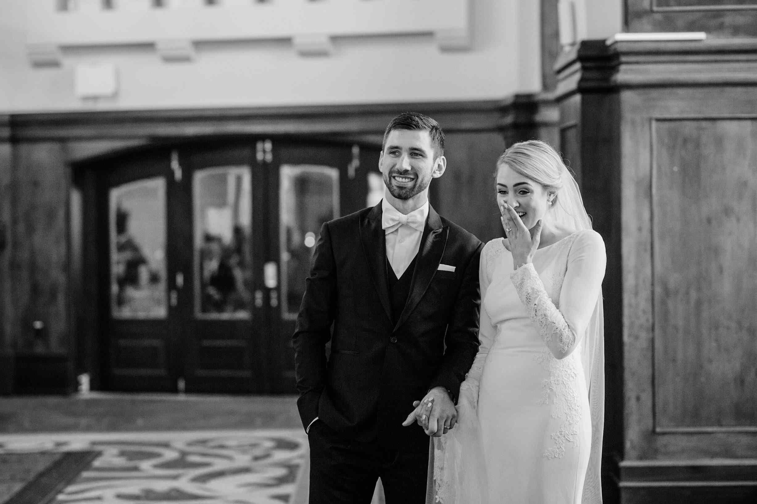 bride and groom surprised