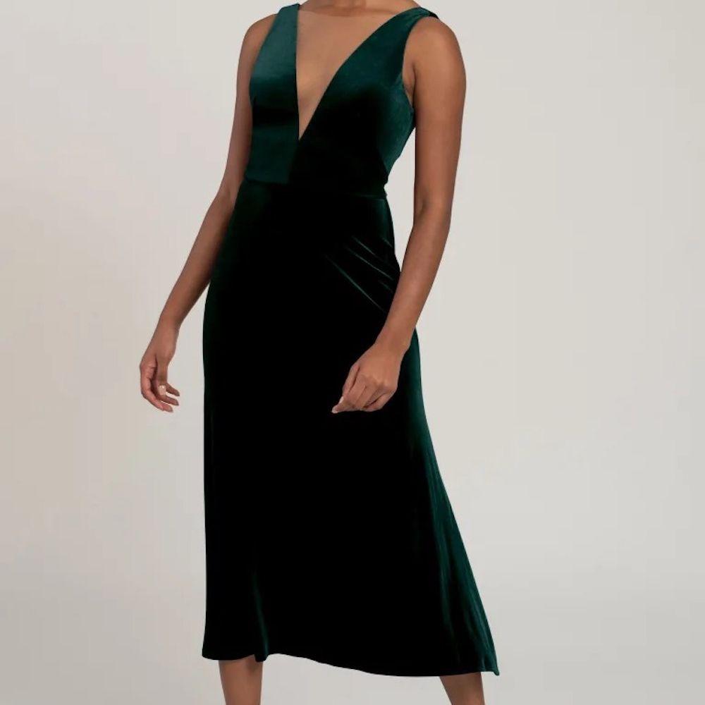 Jenny Yoo Lori V-Neck Velvet Dress