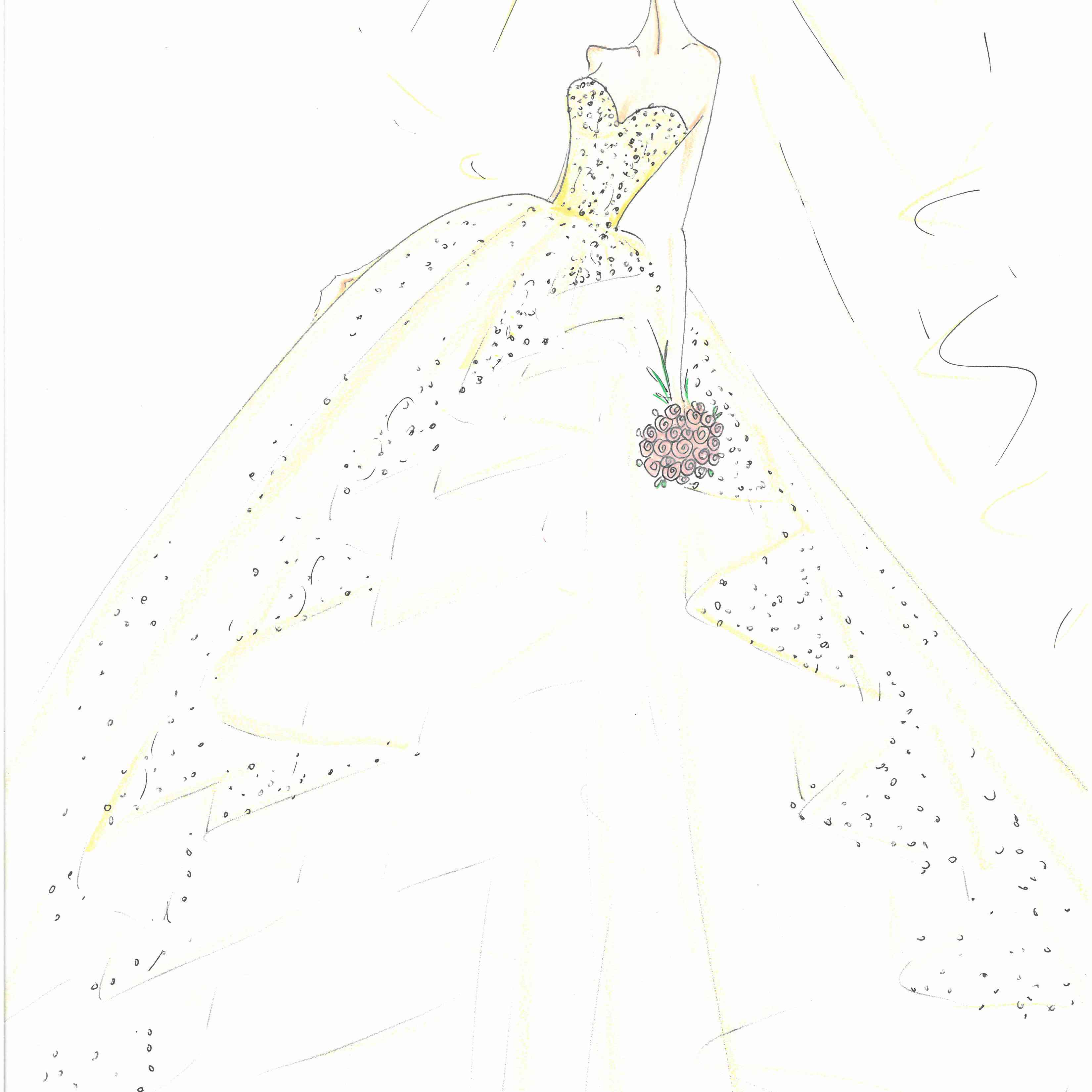 Lazaro Bridal Fashion Week Fall 2020 Sketch