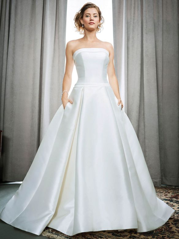 Model in silky strapless ball gown