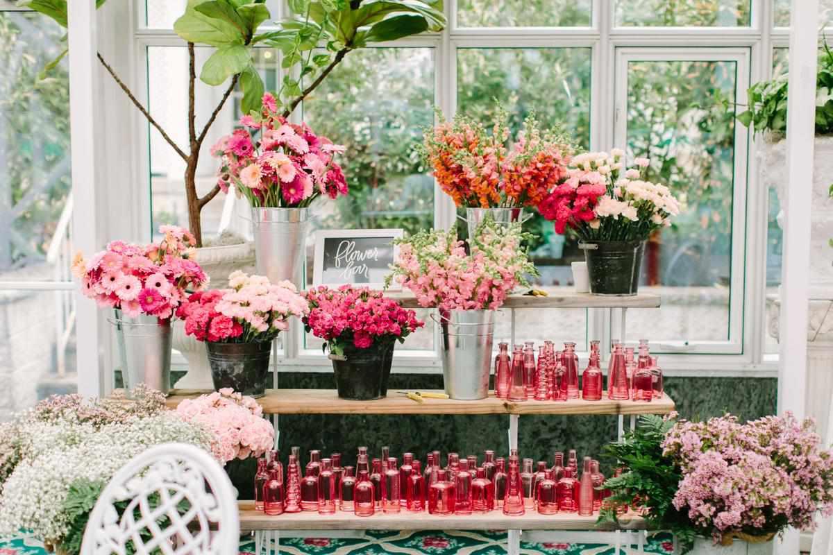 wedding entertainment flower bar