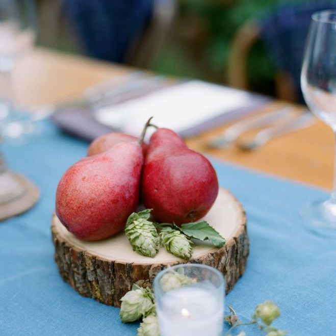 Red pears as a wedding centerpiece