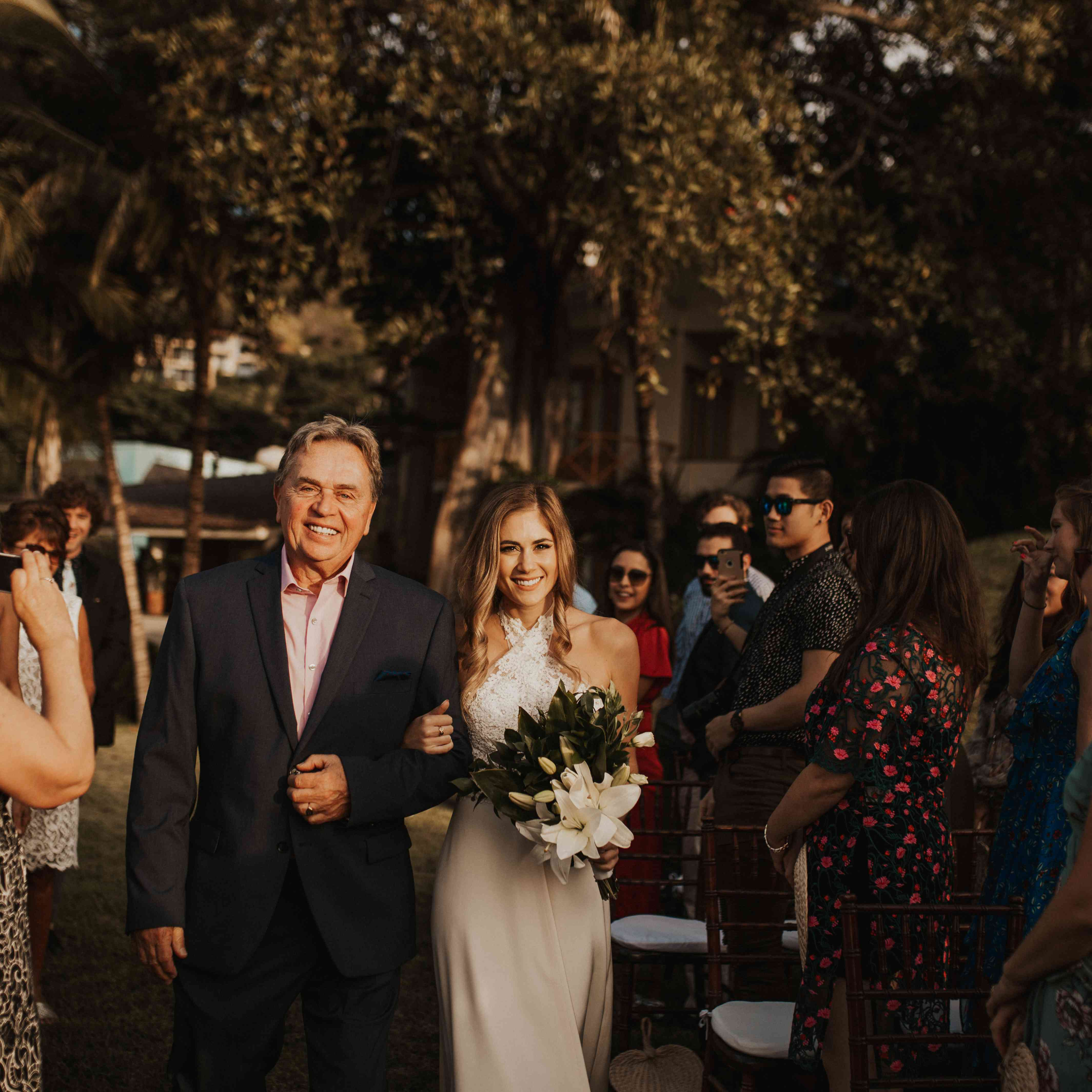 <p>Bride and father of bride walking down aisle</p><br><br>