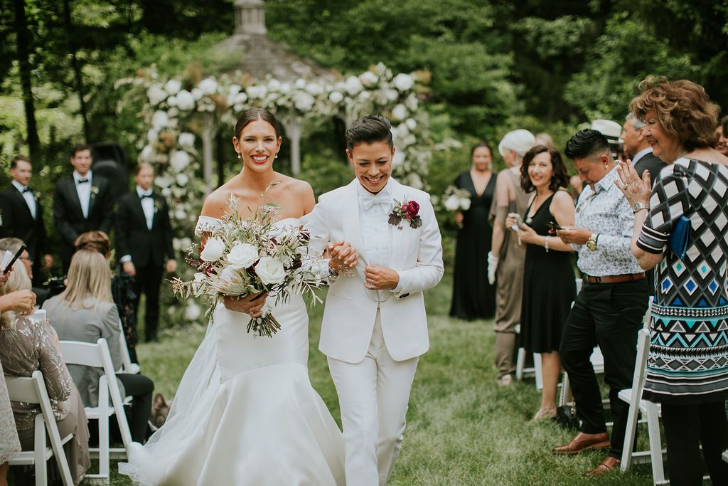 The couple recessed down the aisle