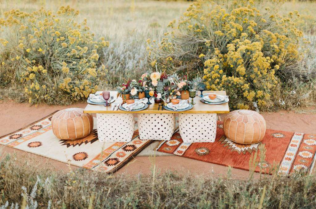 Moroccan and Desert-Inspired Wedding Reception Lounge