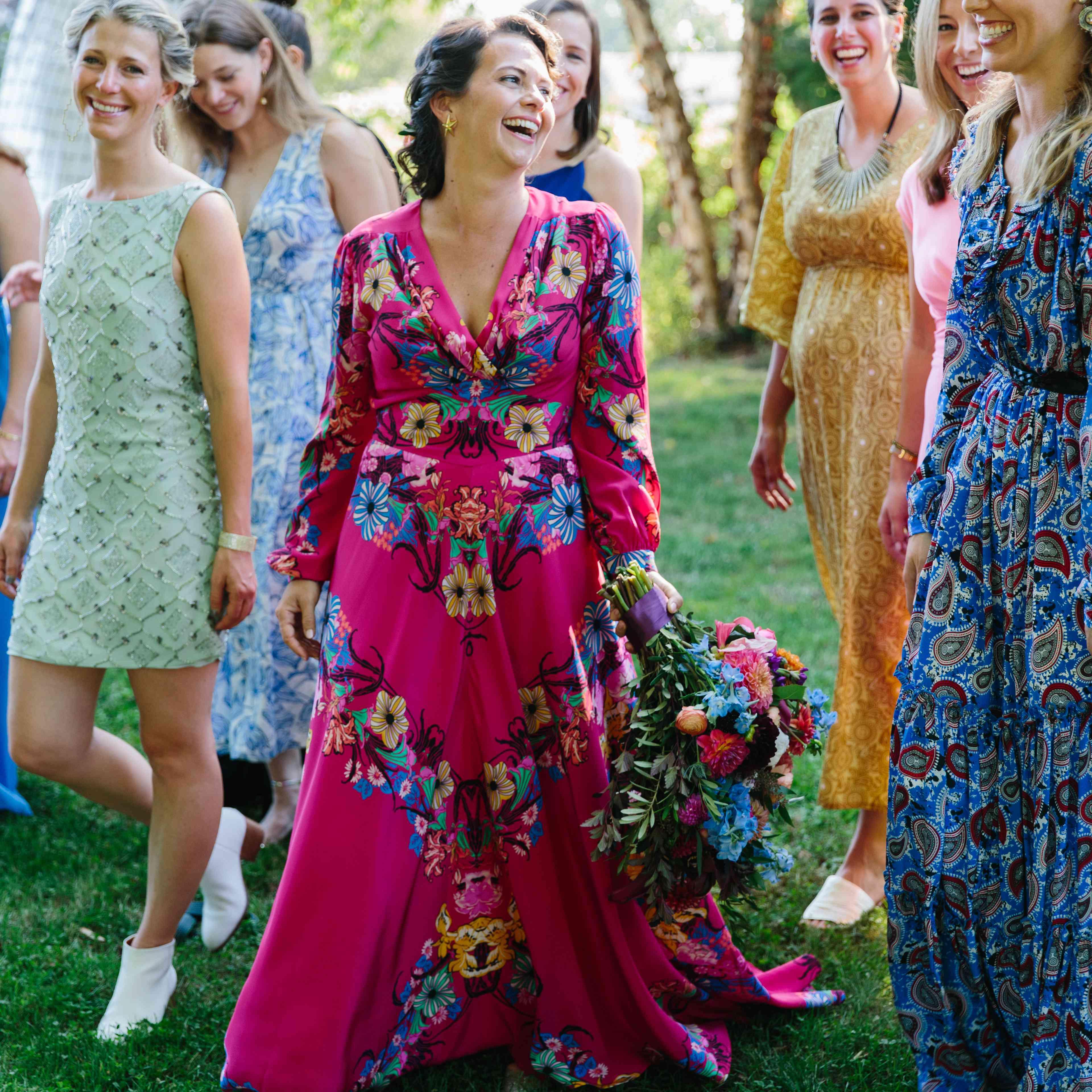 women wearing colorful dresses