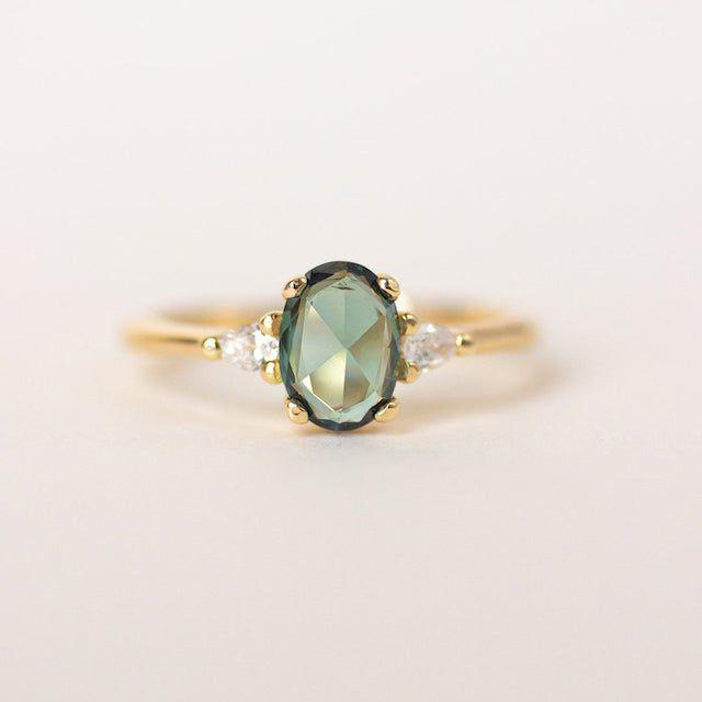 Evorden Green Sapphire Engagement Ring