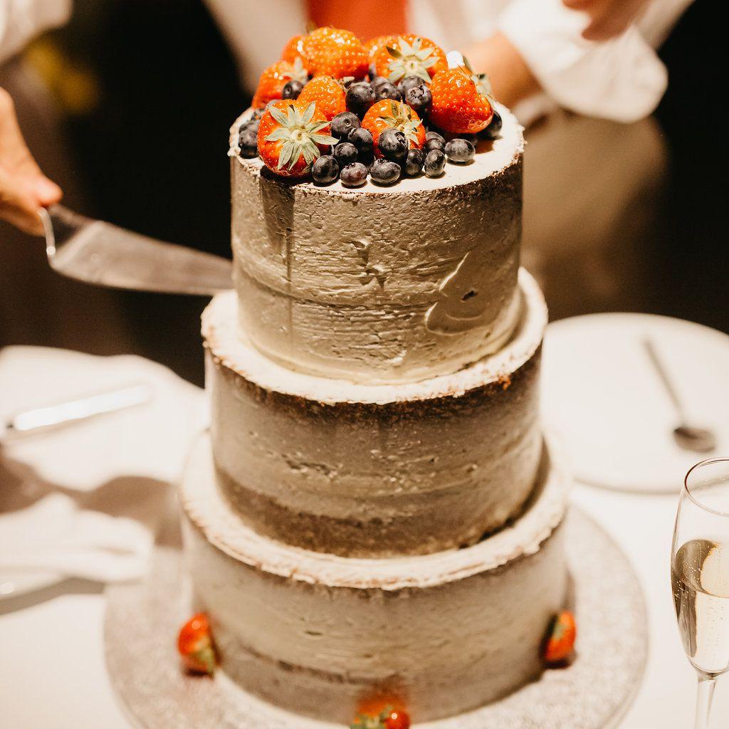 wedding cake with fruit/strawberries
