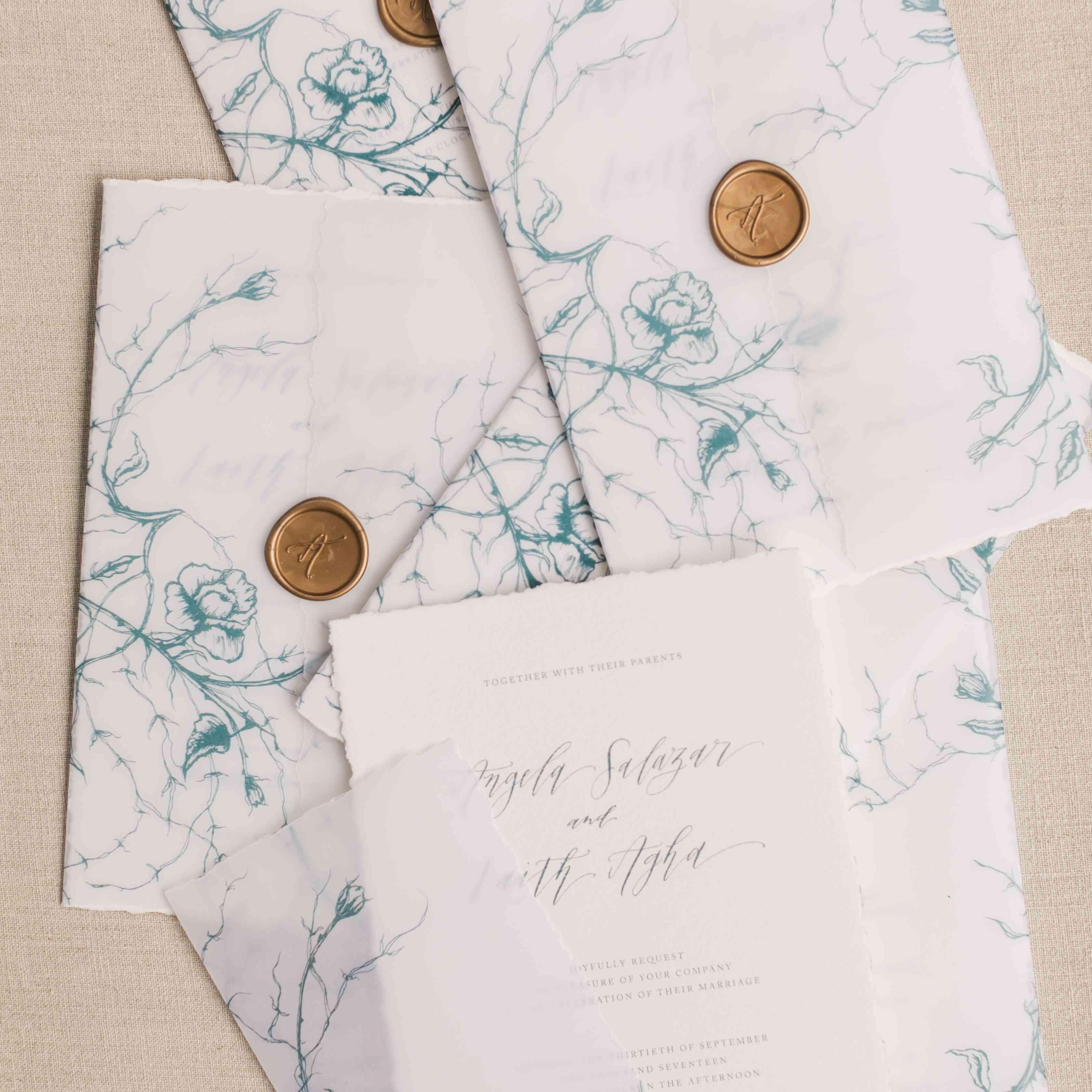 invitation suite rose illustrations