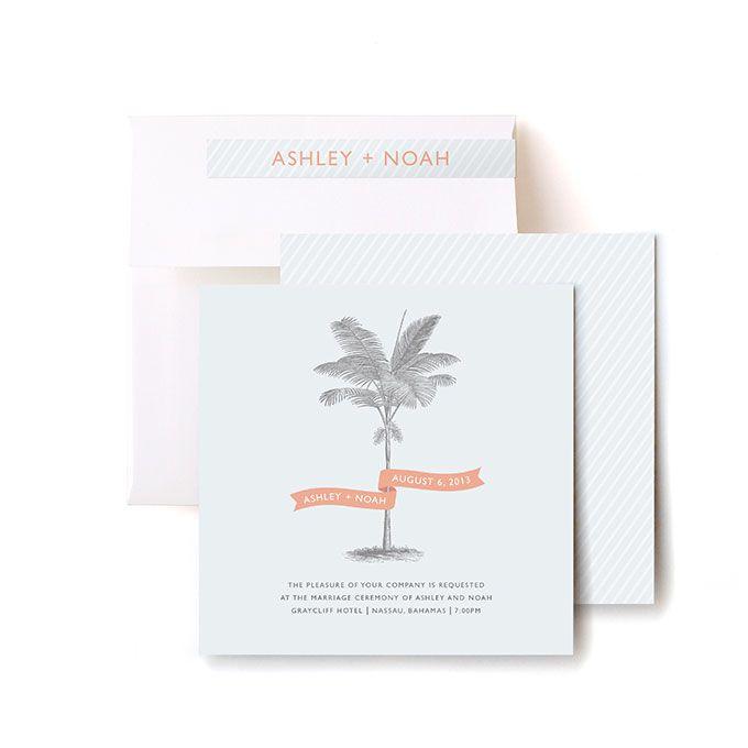 Palm tree wedding invitation suite
