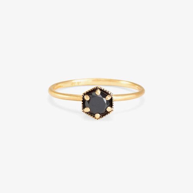 Satomi Kawakita Hexagon Black Diamond Ring