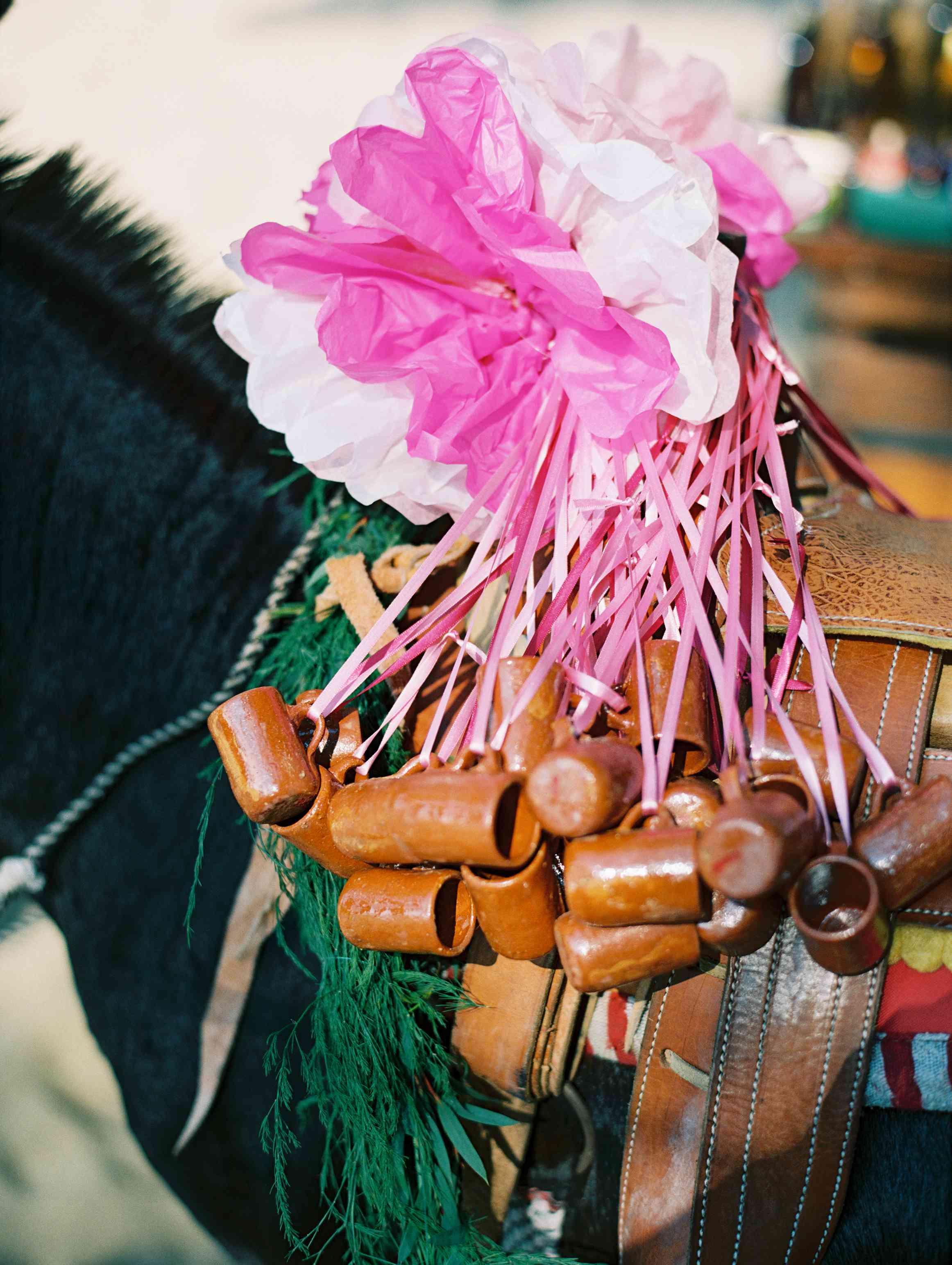 Flower arrangement on donkey