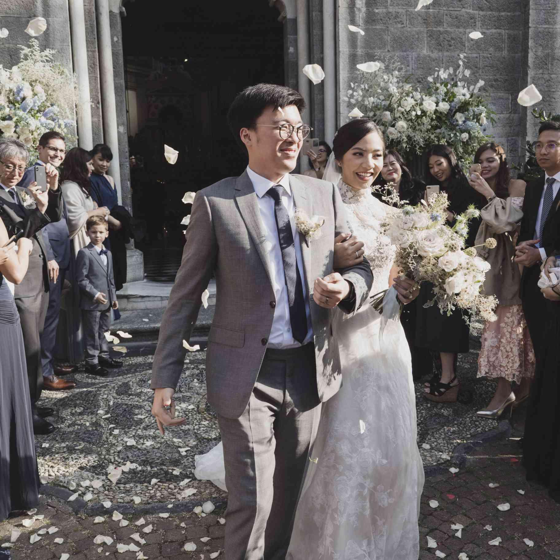 romantic lake como wedding, bride and groom ceremony exit