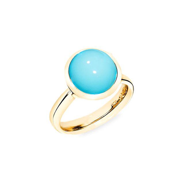 Tamara Comolli Large Bouton 18K Yellow Gold & Turquoise Ring